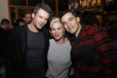 Aja Naomi King, Charlie Weber and Liza Weil take in and celebrate Conrad Ricamora's work in 'Soft Power'