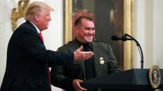 Trump calls on Hispanic-American officer, saying he 'speaks perfect English'