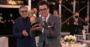 Eugene and Dan Levy become first father-son duo to win Emmys in same year