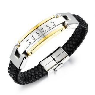 ZUNCLE Pria Eropa And Amerika Tung Zodiak Gelang Stainless Steel (Emas)