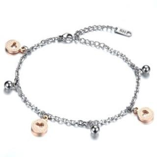 Zuncle Bracelet  Anklet Dual-Use Heart-Shaped Bell Titanium Steel Bracelet Female Jewelry Wholesale Rose Gold