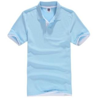Pria Polo ShirtShort Lengan Golf Tenis Shirt (Light Blue)-Intl