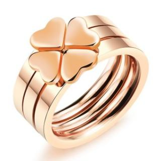 ZUNCLE Korea Clover Cincin Wanita (Rose Gold)-Ukuran AS: 5