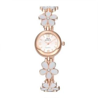 ZUNCLE Ladies Casual Flower Shape Quartz Wrist Watch (Rose Gold)