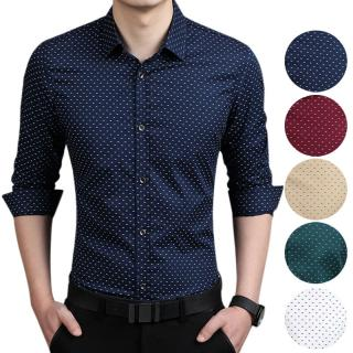 Homens da moda Slim Fit Camisa de Manga Longa Polka Dot Camisa Business Casual Tops Plus Size 5XL H9