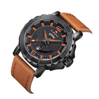 Naviforce Leather Strap Sports Watches Men Quartz Clock Military Wrist Design