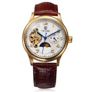 Tevise 8466 Tourbillon Design Leather Band Men Automatic Mechanical Watch