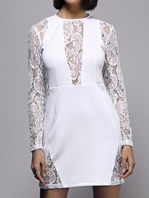 White Lace Spliced Round Neck Long Sleeve Dress