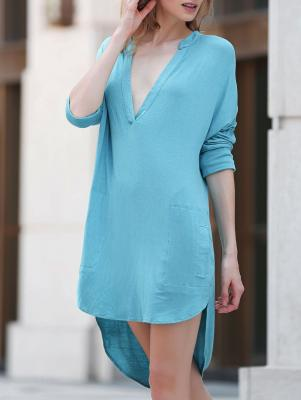 Low Cut Long Sleeve Plunge Dress