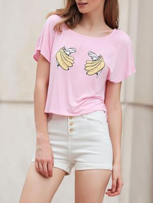 Banana Print Short Sleeve Cropped T-Shirt