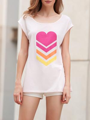 Heart Print Scoop Neck Short Sleeve T-Shirt