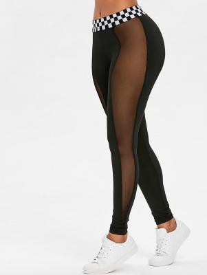 Contrast Waistband Mesh Sports Leggings