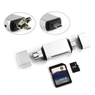 3 in 1 Multifunction Type C + USB + Micro USB OTG SD/Micro SD TF Card Reader Kit
