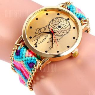 Woven Woolen Female Quartz Watch Pull Cord Bracelet -  Blue and Black