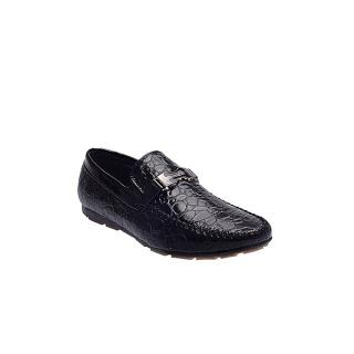 Chain Detail Skin Leather Shoe - Black