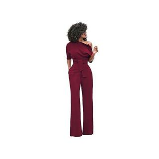 Women Off The Shoulder Elegant Jumpsuits Women Plus Size Rompers Womens Jumpsuits Short Sleeve Female Overalls-wine Red