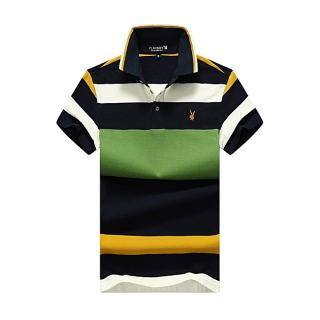 Men Polo Shirt Casual Striped Cotton Polo Short Sleeve-green (1 Unit Per Customer)