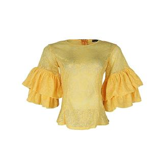 Double Sleeve Fitted Lace Blouse - Yellow