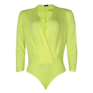 Long Sleeve Drape Bodysuit Blouse - Yellow