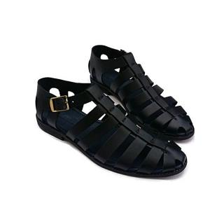 Men Multi Stripe Leather Sandal- Black