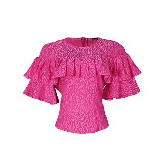 Multi Frill Fitted Lace Blouse - Pink