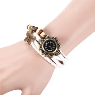 Retro Style Lady Quartz Watch Woven Bracelet -  White