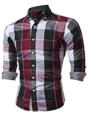WSGYJ Slim Fit Plaid Shirts for Men