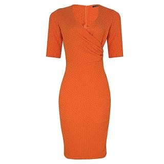 Drape Detail Corporate Dress - Orange