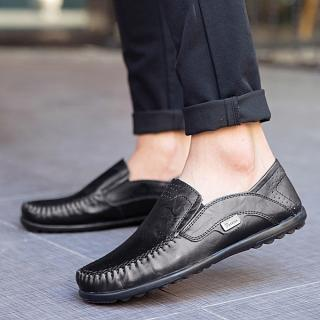 Plus Size Men's Slip-On Leather Loafers Comfy Driving Shoes-Black