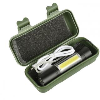 XANES 1518 XPE+COB 2Lights 1000Lumens 3Modes USB Rechargeable Brightness EDC LED Flashlight Suit