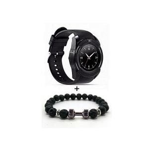 Smart V8 Montre connectée bluetooth homme montre Camera + Bracelets Haltere