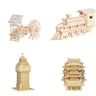 DIY 3D Dimensional Puzzles Wooden Building Car Model Learning Toys For Kids children Gift