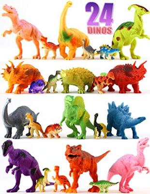 "24 Dinosaur Toys - Colorful Educational Set Of 12 Large 7"" & 12 Mini 1"" Plastic Realistic Figure & Playset - T-rex Spinosaurus Triceratops & More – Kids Party Favors Boys & Girls Age 3+ Years Old Gift"