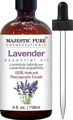 Majestic Pure Lavender Oil, Natural, Therapeutic Grade, Premium Quality Blend of Lavender Essential Oil, 4 fl. Oz