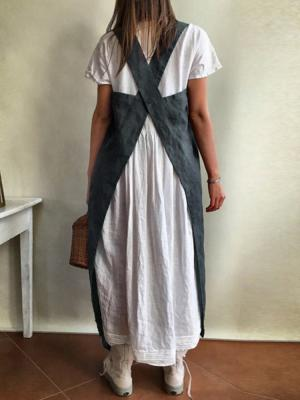 Women Kitchen Brief Solid Color Linen Pinafore Aprons