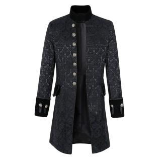 Mens Jacquard Mid-long Stand Collar Autumn Trench Coat