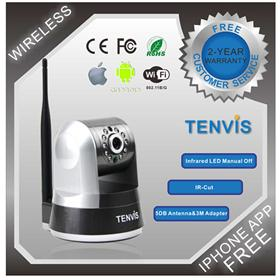 TENVIS IP Robot2 1/4' CMOS 300KP Wireless Security Wi-Fi IP Camera W/ 10-LED Night Vision Two-Way Audio Built-In IR-CUT