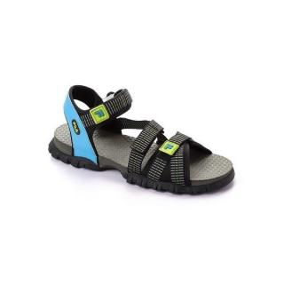 Casual Bi-Tone Men's Velcro Sandals - Babe Blue & Black