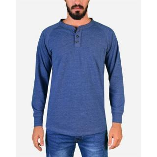 Basic Buttoned Long Sleeves Sweat Shirt - Indigo