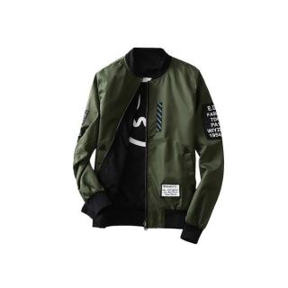 Wind Breaker Men Jacket With Patches Both Side Wear Thin Bomber Coat-green