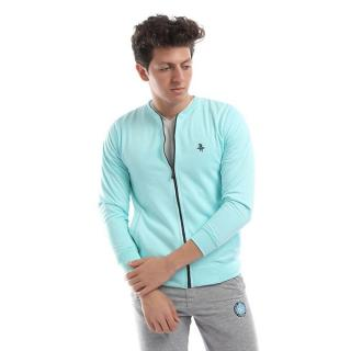 Solid Zipper Sweatshirt - Lt.Green