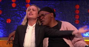 "Samuel L. Jackson and Brie Larson Bring Some Serious Emotion to Their Performance of ""Shallow"""