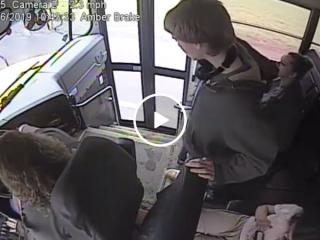 Bus drivers quick reflexes saves students life (Video)