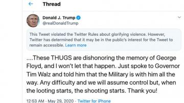 Twitter adds 'glorifying violence' warning to Trump tweet