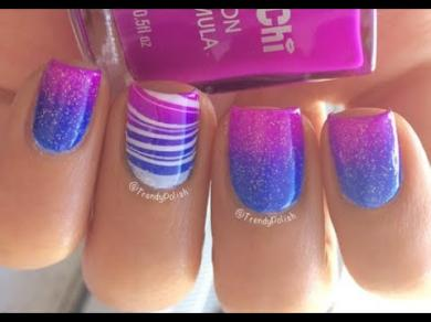 Gradient & Water Marble Nail Art Tutorial