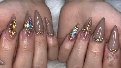 Acrylic Nails Tutorial | FullSet Stiletto Nails | Nude Bling Nails