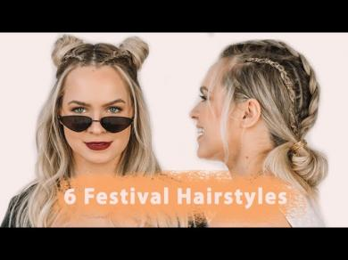 6 Festival Hairstyles Hair Tutorial(All the braids and accessories!!)
