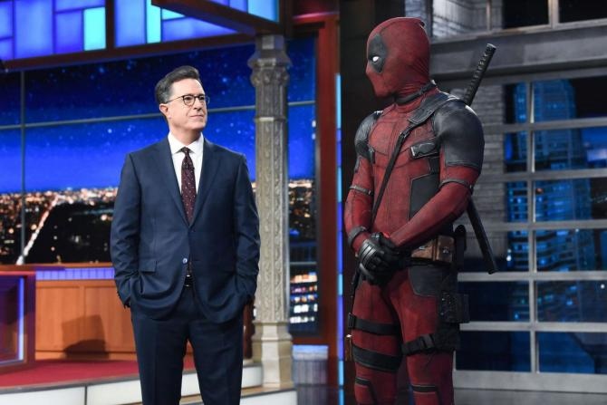 Deadpool crashes Colbert and unleashes some top-notch, lowbrow Trump humor