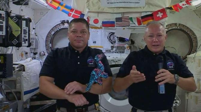 History-making astronauts undock from ISS, return set for Sunday