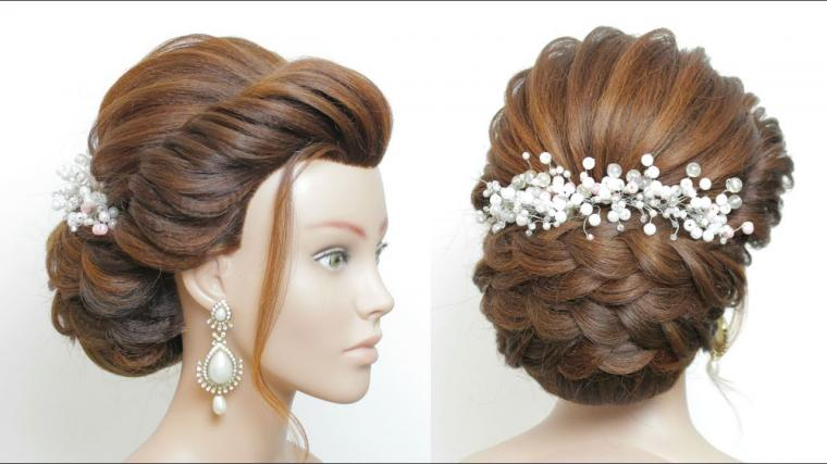 Latest Bridal Hairstyle For Long Hair Tutorial. New Wedding Updo